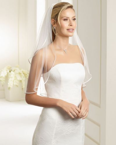 Sophia Satin Edge Bridal Veil with Pearls, Pearl Wedding Veil